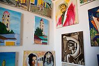 Cuban paintings for sale in a shop, Trinidad, Sancti Spiritus, Cuba.