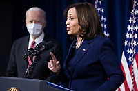 US President Joe Biden (L) listens to US Vice President Kamala Harris (R) deliver remarks to Department of Defense personnel at the Pentagon in Arlington, Virginia, USA, 10 February 2021.<br /> CAP/MPI/RS<br /> ©RS/MPI/Capital Pictures
