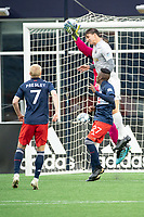 FOXBOROUGH, MA - APRIL 17: Earl Edwards Jr. #90 of New England Revolution II catches a corner kick off the head of Juan Pablo Monticelli #2 of Richmond Kickers during a game between Richmond Kickers and Revolution II at Gillette Stadium on April 17, 2021 in Foxborough, Massachusetts.