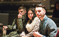 """Fashion students from Kingston College     watching rehearsals.  They'd designed clothes for athletes in the SOGB team.  Special Olympics Surrey put on a show,   """"Beyond the Stars"""", at the Rose Theatre, Kingston upon Thames to raise money for the  SOGB team.  The Special Olympics are for athletes with learning disabilities."""