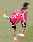 Real Madrid's Lucas Silva (l) and Marcelo Vieira during training session.January 30,2015.(ALTERPHOTOS/Acero)