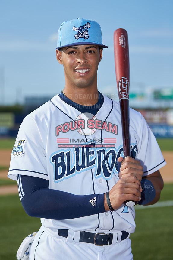 Wilmington Blue Rocks catcher MJ Melendez (7) poses for a photo prior to the game against the Fayetteville Woodpeckers at Frawley Stadium on June 6, 2019 in Wilmington, Delaware. The Woodpeckers defeated the Blue Rocks 8-1. (Brian Westerholt/Four Seam Images)