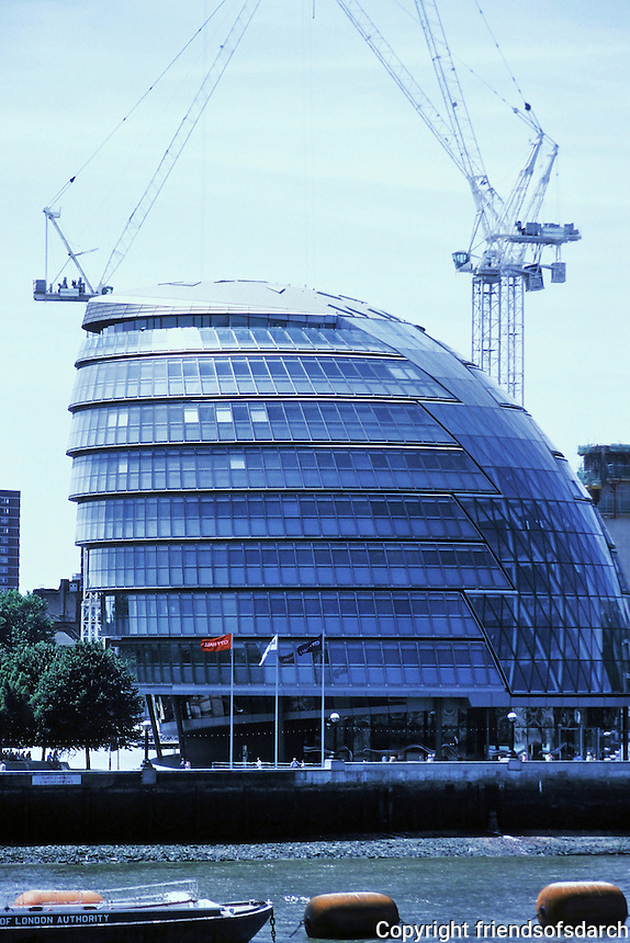 """Sir Norman Foster: London City Hall, viewed from Tower Bridge. 2002. Bulbous shape. Referred to as """"The Onion"""".  Photo '05."""