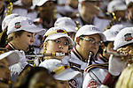 The Florida State Marching Chiefs play in the stands during the BCS national title game at the Rose Bowl in Pasadena, California on January 6, 2014.   The Florida State Seminoles defeated the Auburn Tiger 34-31 to win the final BCS National Championship.