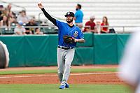 Biloxi Shuckers third baseman Lucas Erceg (1) on defense against the Tennessee Smokies on May 18, 2021, at Smokies Stadium in Kodak, Tennessee. (Danny Parker/Four Seam Images)