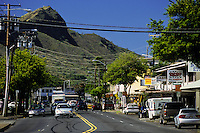 Looking down Kapahulu Avenue at Diamond Head, island of Oahu