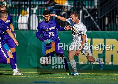 5 October 2019: University of Vermont Catamount Midfielder Jon Arnar Barðdal, a Senior from Garðabær, Iceland, in action against the University at Albany Great Danes, on Virtue Field in Burlington, Vermont. The Catamounts fell to the visiting Danes 3-1 in America East, Division 1 play. Mandatory Credit: Ed Wolfstein Photo *** RAW (NEF) Image File Available ***