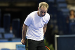 USA's John McEnroe jokes around with the fans during the HSBC Tennis Cup series at First Niagara Center in Buffalo, NY on October 22, 2011