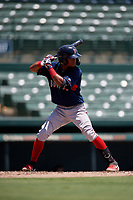 GCL Red Sox Ceddanne Rafaela (5) bats during a Gulf Coast League game against the GCL Orioles on July 29, 2019 at Ed Smith Stadium in Sarasota, Florida.  GCL Red Sox defeated the GCL Pirates 9-1.  (Mike Janes/Four Seam Images)