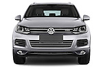 Car photography straight front view of a 2014 Volkswagen Touareg Hybrid 5 Door SUV 2WD Front View