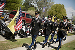 April 15, 2008. Wallace, NC..Funeral services were held for National Guard Staff Sgt. Emanuel Pickett at the 1st Baptist Church in Wallace, NC., where he was a police officer.. SSgt. Pickett was killed on April 6, 2008 in Baghdad, Iraq by indirect enemy fire. He was assigned to the 1132nd Military Police Company, North Carolina Army National Guard, Rocky Mount, N.C. and is the 8th North Carolina National Guard soldier killed in the wars in Iraq and Afghanistan.. Members of the honor guard, from the Wayne Co. Sheriff's dept., make their way to the church.