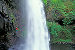 Silver Falls State Park, Oregon: hiker on trail that goes behind Lower South Falls.