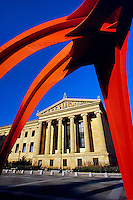 Philadelphia Museum of Art framed by Calder sculpture, Phila, Pennsylvania.