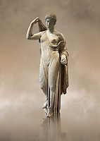 "Aphrodite of Fréjus in the style known as ""Venus Genetrix"". A 1.64m high Roman statue, dating from the end of the 1st century BC to the start of the 1st century AD, in Parian marble, was discovered at Fréjus (Forum Julii) in 1650. It is considered as the best Roman copy of the lost Greek work. Louvre Museum, Paris<br />