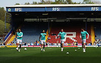Blackburn Rovers' Danny Graham, Bradley Dack, Joe Rothwell and Craig Conway during the pre-match warm-up <br /> <br /> Photographer Kevin Barnes/CameraSport<br /> <br /> The EFL Sky Bet Championship - Blackburn Rovers v Bolton Wanderers - Monday 22nd April 2019 - Ewood Park - Blackburn<br /> <br /> World Copyright © 2019 CameraSport. All rights reserved. 43 Linden Ave. Countesthorpe. Leicester. England. LE8 5PG - Tel: +44 (0) 116 277 4147 - admin@camerasport.com - www.camerasport.com