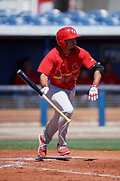 Palm Beach Cardinals shortstop Edmundo Sosa (3) runs to first base during a game against the Charlotte Stone Crabs on April 12, 2017 at Charlotte Sports Park in Port Charlotte, Florida.  Palm Beach defeated Charlotte 8-7 in ten innings.  (Mike Janes/Four Seam Images)