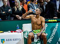 Rotterdam, The Netherlands, 16 Februari 2020, ABNAMRO World Tennis Tournament, Ahoy,<br /> Mens Single Final: Winner  Gaël Monfils (FRA) Drinking water<br /> Photo: www.tennisimages.com
