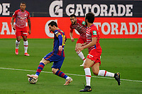 29th April 2021; Camp Nou, Barcelona, Catalonia, Spain; La Liga Football, Barcelona versus Granada; Leo Messi of Barcelona cuts inside the defenders of Granada in the box