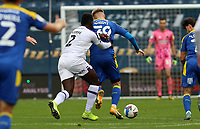 Aaron Pierre of Shrewsbury Town fouls Joe Pigott of AFC Wimbledon during AFC Wimbledon vs Shrewsbury Town, Sky Bet EFL League 1 Football at The Kiyan Prince Foundation Stadium on 17th October 2020
