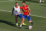 Spanish Paco Alcacer and Sergio Ramos during the first training of the concentration of Spanish football team at Ciudad del Futbol de Las Rozas before the qualifying for the Russia world cup in 2017 August 29, 2016. (ALTERPHOTOS/Rodrigo Jimenez)