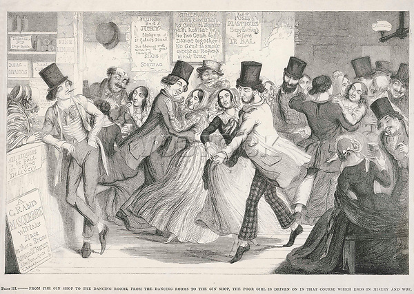 A popular dance hall in London's East End     Date: circa 1850     Source: George Cruikshank The drunkard's children plate 3