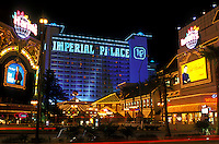Las Vegas, Nevada, casinos, hotel, NV, Nightlife along The Strip at night in Las Vegas, the Entertainment Capital of the World. Imperial Palace Casino