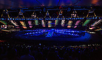 "12 AUG 2012 - LONDON, GBR - Lights flash around the stadium during the ""A Symphony of British Music"" section of the London 2012 Olympic Games Closing Ceremony in the Olympic Stadium in the Olympic Park, Stratford, London, Great Britain .(PHOTO (C) 2012 NIGEL FARROW)"