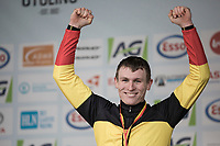 Thijs Aerts (BEL/Telenet Fidea Lions) celebrating his victory in the U23 category.<br /> <br /> U23 race<br /> Belgian National Cyclocross Championships 2018 / Koksijde