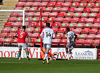 10th October 2020; Bescot Stadium, Walsall, West Midlands, England; English Football League Two, Walsall FC versus Colchester United; Opening goal celebrations for Callum Harriott of Colchester United