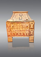 Minoan  pottery gabled larnax coffin chest with double axe and papyrus decorations,  Anthanatoi 1370-1250 BC, Heraklion Archaeological  Museum, grey background.