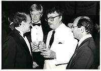 Serge Losique, Reed Scowen, Roger Lemelin et Leo Kolber <br /> au Festival des Films du Monde 1985<br /> <br /> <br /> PHOTO : Agence Quebec Presse