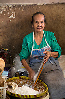 Yogyakarta, Java, Indonesia.  Woman Grating Coconut, Beringharjo Market.