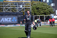 NZ's Devon Conway walks off after being dismissed for 128 during the third One Day International cricket match between the New Zealand Black Caps and Bangladesh at the Basin reserve in Wellington, New Zealand on Friday, 26 March 2021. Photo: Dave Lintott / lintottphoto.co.nz