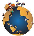 Illustrative representation of global communications network