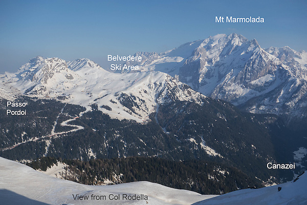 Italy, Dolomites.  <br /> I've been skiing lots of years, in lots of places. I've also been fortunate to ski some of the best and biggest areas in the Alps. And yes, they are bigger than the USA, but our pistes are more diverse and generally have better snow.<br /> Belvedere Ski Area from Col Rodella, Winter Games, Canazei, Italy.
