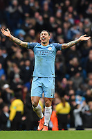 Manchester City's Aleksandar Kolarov celebrates as Manchester City's Gabriel Jesus scores the second goal during the Premier League match between Manchester City and Swansea City at the Etihad Stadium, Manchester, England. Sunday 05 February 2017