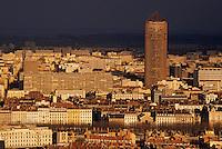 Europe/France/Rhône-Alpes/69/Rhône/Lyon: Le quartier de la Part-Dieu vu depuis la basilique Notre-Dame-de-Fourvière (1896 Gothico-byzantin)