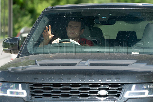 21st May 2020, Manchester, England;  Manchester United's Harry Maguire arrives at the club s Carrington training ground for socially distanced training in Manchester, Britain on May 21, 2020. The Premier League clubs were allowed to start small-group training from Tuesday after the top-flight football league in England was suspended on March 13 due to COVID-19 outbreak.