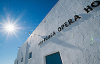 Amargosa Opera House in Death Valley Junction, California. Dancer and actress Marta Becket opened the Amargosa Opera House in 1968, in a building that was originally a recreation hall in a company town built by the Pacific Coast Borax Company in 1924. She performed there until her retirement in 2012 at age 87.