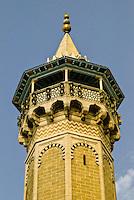 Tunis, Tunisia.  Minaret of the Hamouda Pacha Mosque, 17th. Century.