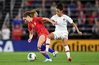 Saint Paul, MN - SEPTEMBER 03: Cláudia Neto #7 of Portugal and  Morgan Brian #6 of the United States during their 2019 Victory Tour match versus Portugal at Allianz Field, on September 03, 2019 in Saint Paul, Minnesota.