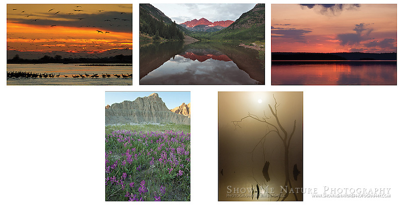 """Boxed set of 10 Landscapes note cards (folded, blank inside), 2 of each of the pictured images, and 10 blank, white envelopes. To purchase, click on image until a """"Buy Prints"""" button appears above the image."""
