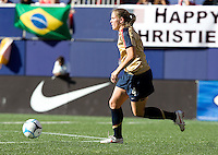 Cat Whitehill dribbles upfield. USA defeated Brazil 2-0 at Giants Stadium on Sunday, June 23, 2007.