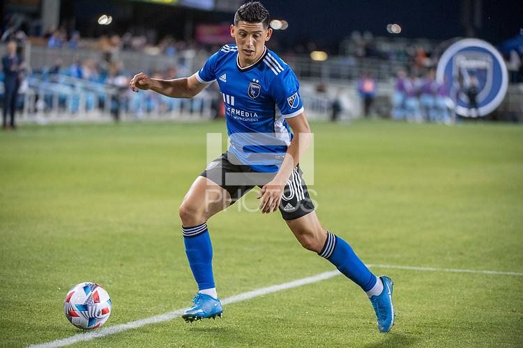 SAN JOSE, CA - MAY 22: Cristian Espinoza #10 of the San Jose Earthquakes controls the ball during a game between San Jose Earthquakes and Sporting Kansas City at PayPal Park on May 22, 2021 in San Jose, California.