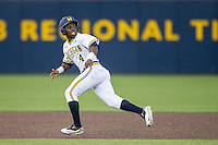 Michigan Wolverines second baseman Ako Thomas (4) runs to third base against the Oakland Golden Grizzlies on May 17, 2016 at Ray Fisher Stadium in Ann Arbor, Michigan. Oakland defeated Michigan 6-5 in 10 innings. (Andrew Woolley/Four Seam Images)