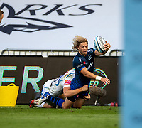 21st August 2020; AJ Bell Stadium, Salford, Lancashire, England; English Premiership Rugby, Sale Sharks versus Exeter Chiefs;  Faf de Klerk of Sale Sharksis tackled on the far touchline by  Jack Maunder of Exeter Chiefs