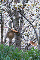 Les paysans ont laissé leurs chapeaux suspendus à un arbre.///The farmers have left their hats hanging on a tree.
