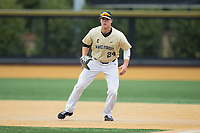 Wake Forest Demon Deacons first baseman Gavin Sheets (24) on defense against the Georgia Tech Yellow Jackets at David F. Couch Ballpark on March 26, 2017 in  Winston-Salem, North Carolina.  The Demon Deacons defeated the Yellow Jackets 8-4.  (Brian Westerholt/Four Seam Images)