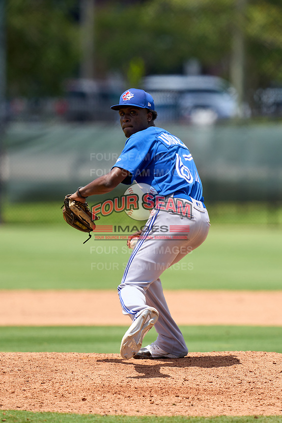Toronto Blue Jays pitcher Geison Urbaez (67) during an Extended Spring Training game against the Philadelphia Phillies on June 12, 2021 at the Carpenter Complex in Clearwater, Florida. (Mike Janes/Four Seam Images)