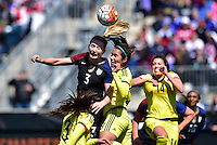 Chester, Pa. - April 10, 2016: The U.S. Women's National team go up 1-0 over Colombia in first half action during an international friendly match at Talen Energy Stadium.